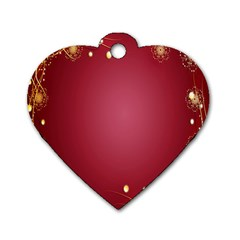 Red Background With A Pattern Dog Tag Heart (two Sides)