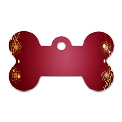 Red Background With A Pattern Dog Tag Bone (one Side)