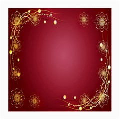 Red Background With A Pattern Medium Glasses Cloth (2 Side)