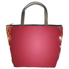 Red Background With A Pattern Bucket Bags