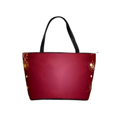 Red Background With A Pattern Shoulder Handbags