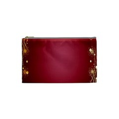 Red Background With A Pattern Cosmetic Bag (small)