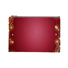 Red Background With A Pattern Cosmetic Bag (Large)