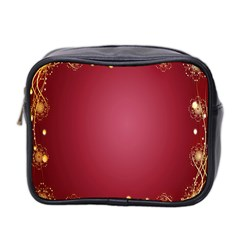 Red Background With A Pattern Mini Toiletries Bag 2 Side