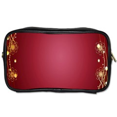 Red Background With A Pattern Toiletries Bags 2 Side