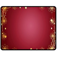 Red Background With A Pattern Fleece Blanket (Medium)