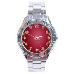 Red Background With A Pattern Stainless Steel Analogue Watch