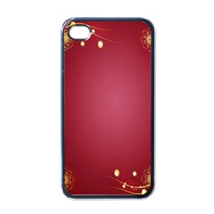 Red Background With A Pattern Apple Iphone 4 Case (black)