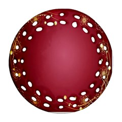 Red Background With A Pattern Ornament (round Filigree)