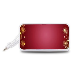 Red Background With A Pattern Portable Speaker (white)