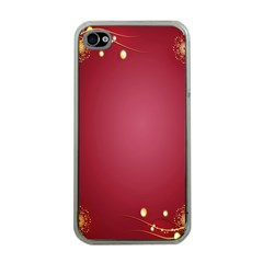 Red Background With A Pattern Apple Iphone 4 Case (clear)