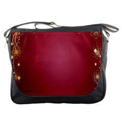 Red Background With A Pattern Messenger Bags