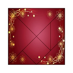Red Background With A Pattern Acrylic Tangram Puzzle (6  X 6 )