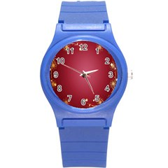Red Background With A Pattern Round Plastic Sport Watch (s)