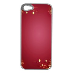 Red Background With A Pattern Apple Iphone 5 Case (silver)