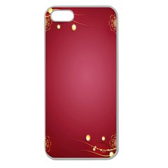 Red Background With A Pattern Apple Seamless Iphone 5 Case (clear)