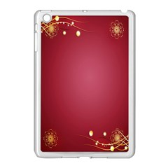 Red Background With A Pattern Apple iPad Mini Case (White)