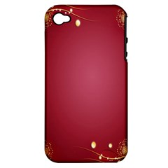 Red Background With A Pattern Apple Iphone 4/4s Hardshell Case (pc+silicone)