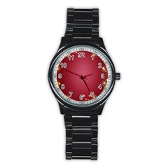 Red Background With A Pattern Stainless Steel Round Watch