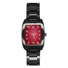 Red Background With A Pattern Stainless Steel Barrel Watch