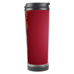 Red Background With A Pattern Travel Tumbler