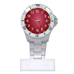 Red Background With A Pattern Plastic Nurses Watch