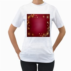 Red Background With A Pattern Women s T Shirt (white)