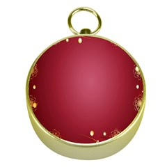 Red Background With A Pattern Gold Compasses