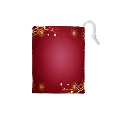 Red Background With A Pattern Drawstring Pouches (small)