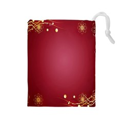 Red Background With A Pattern Drawstring Pouches (large)