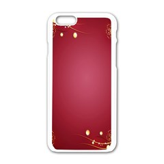 Red Background With A Pattern Apple Iphone 6/6s White Enamel Case