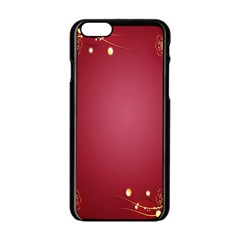 Red Background With A Pattern Apple Iphone 6/6s Black Enamel Case