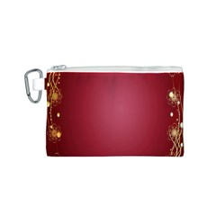 Red Background With A Pattern Canvas Cosmetic Bag (S)