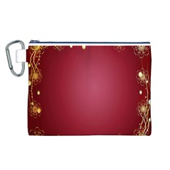 Red Background With A Pattern Canvas Cosmetic Bag (l)