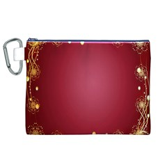 Red Background With A Pattern Canvas Cosmetic Bag (xl)