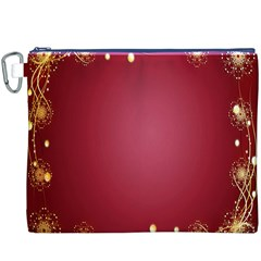 Red Background With A Pattern Canvas Cosmetic Bag (xxxl)