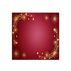 Red Background With A Pattern Satin Bandana Scarf