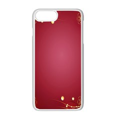 Red Background With A Pattern Apple Iphone 7 Plus White Seamless Case