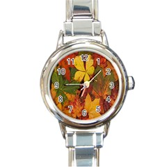 Colorful Autumn Leaves Leaf Background Round Italian Charm Watch