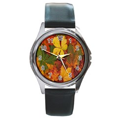 Colorful Autumn Leaves Leaf Background Round Metal Watch