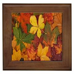 Colorful Autumn Leaves Leaf Background Framed Tiles