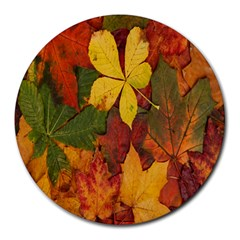 Colorful Autumn Leaves Leaf Background Round Mousepads
