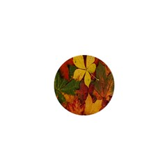 Colorful Autumn Leaves Leaf Background 1  Mini Buttons