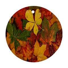Colorful Autumn Leaves Leaf Background Ornament (round)