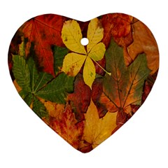 Colorful Autumn Leaves Leaf Background Ornament (heart)