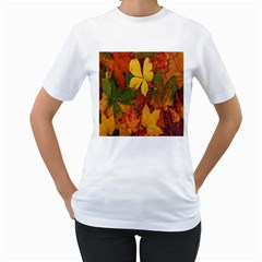 Colorful Autumn Leaves Leaf Background Women s T Shirt (white) (two Sided)