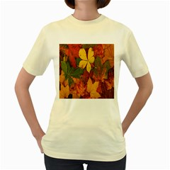 Colorful Autumn Leaves Leaf Background Women s Yellow T Shirt