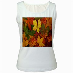 Colorful Autumn Leaves Leaf Background Women s White Tank Top