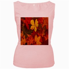 Colorful Autumn Leaves Leaf Background Women s Pink Tank Top