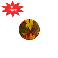 Colorful Autumn Leaves Leaf Background 1  Mini Magnet (10 pack)